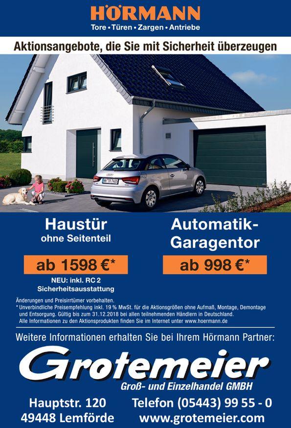 Hörmann Haustür und Automatik-Garagentor bei Grotemeier Lemförde